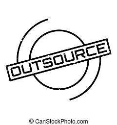 Outsource rubber stamp. Grunge design with dust scratches....
