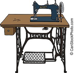 Classic sewing machine - Hand drawing of a classic treadle...