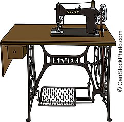 Vintage treadle sewing machine - Hand drawing of a retro...