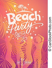 Summer Beach party. Eat and drink Hand made vector...