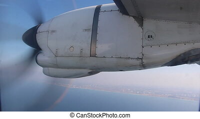 Propeller engine of commercial airplane - Shot of Propeller...