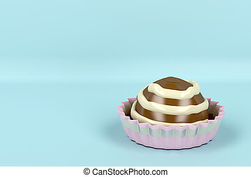 Chocolate candy on light blue background