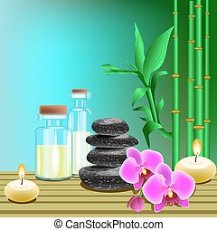 Vector illustration of spa products on the colored background