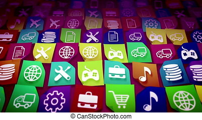 """Colorful application icons store concept"" - ""Colorful..."