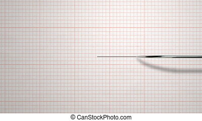 A polygraph lie detector needle drawing black line -...