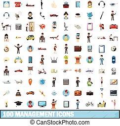 100 management icons set, cartoon style