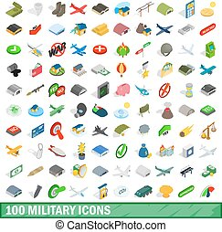 100 military icons set, isometric 3d style