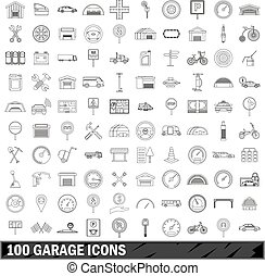 100 garage icons set, outline style
