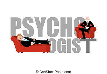 Psychologist lettering. Consultation of psychotherapist....