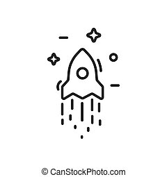 Start up business outlined line vector icon rocket and stars