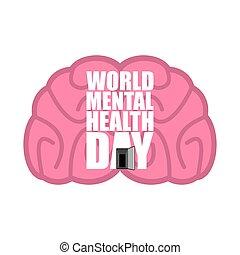 World Mental Health Day emblem. Symbol of human Brain....
