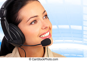 Call center agent - Smiling pretty business woman with...