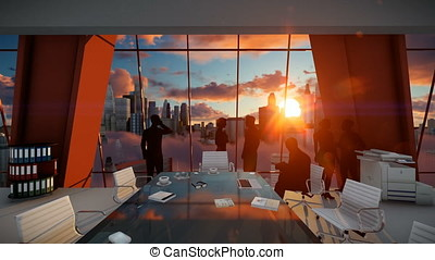 Silhouette of Business People Team, Rear View Cityscape at Sunset