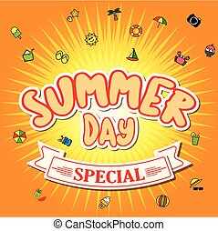 Summer day special vacation time vector abstract background...