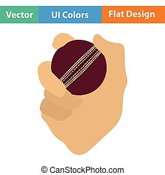 Hand holding cricket ball icon. Flat design. Vector...