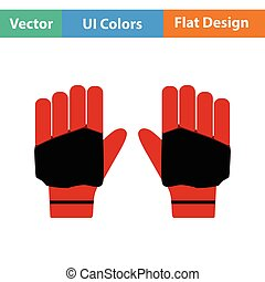 Pair of cricket gloves icon. Flat design. Vector...