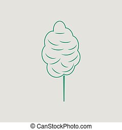 Cotton candy icon. Gray background with green. Vector...