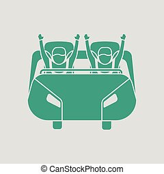 Roller coaster cart icon. Gray background with green. Vector...