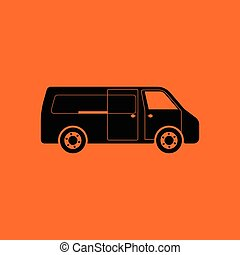 Commercial van icon. Orange background with black. Vector...