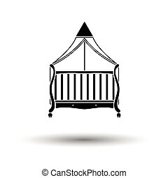 Crib with canopy icon. White background with shadow design....