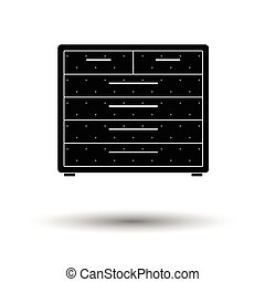 Chest of drawers icon. White background with shadow design....