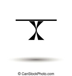 Dinner table icon. White background with shadow design....