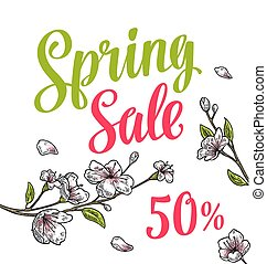 Sakura blossom. Cherry branch with flowers, bud. Spring Sale lettering.