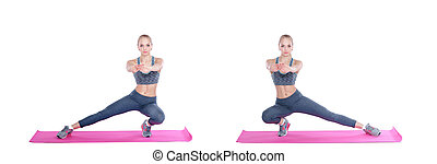 beautiful blonde woman does exercises on fitness Mat on...