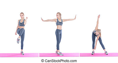 beautiful blonde girl in sportswear does exercises on...