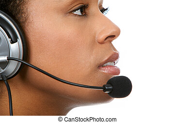 Call Center Operator - Pretty business woman with headset....