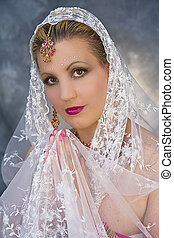 Watchful India Woman - Lace veil over hands on covering...