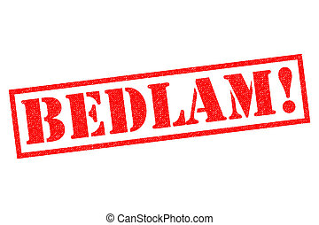 BEDLAM! Rubber Stamp - BEDLAM! red Rubber Stamp over a white...