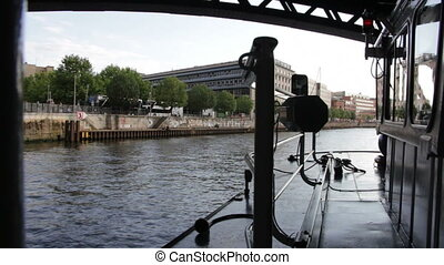 Sailing a boat on a river - Shot of Sailing a boat on a...