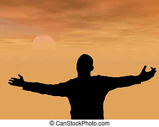 praying man - Silhouette of a man with arms lifted up to the...
