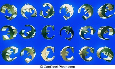 Rotating euro signs on blue