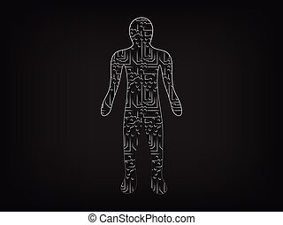 person made of electronic microchip style circuits, surreal...