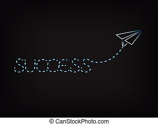 Success written by paper airplane trail - Success text...