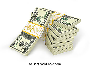 Stacks of Hundred US Dollars. 3d illustration