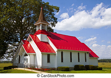 Country Church - Red roof country church