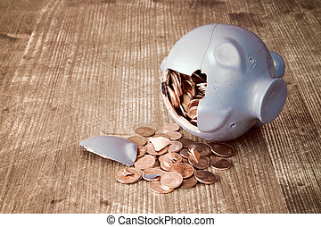 Broken piggy bank with and money