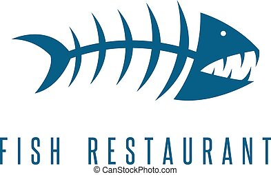 seafood restaurant emblem with skeleton of fish vector