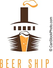 negative space vector concept of beer and ship