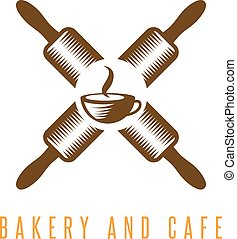 crossed rolling pins and cup of coffee vector design