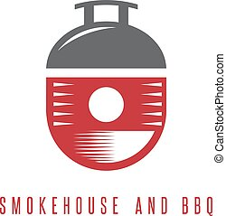 smokehouse and bbq vector concept with barrel