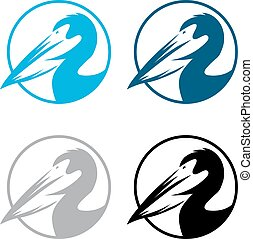 pelican round emblems set vector design template