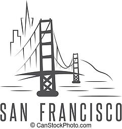 san francisco skyline and golden gate bridge vector design...