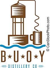 hooch still buoy distillery concept vector design template