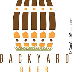 backyard beer vector design template with fence and cask