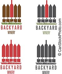 backyard winery vector design template with fence and bottle