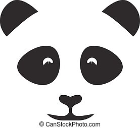 abstract face of cute panda vector design template